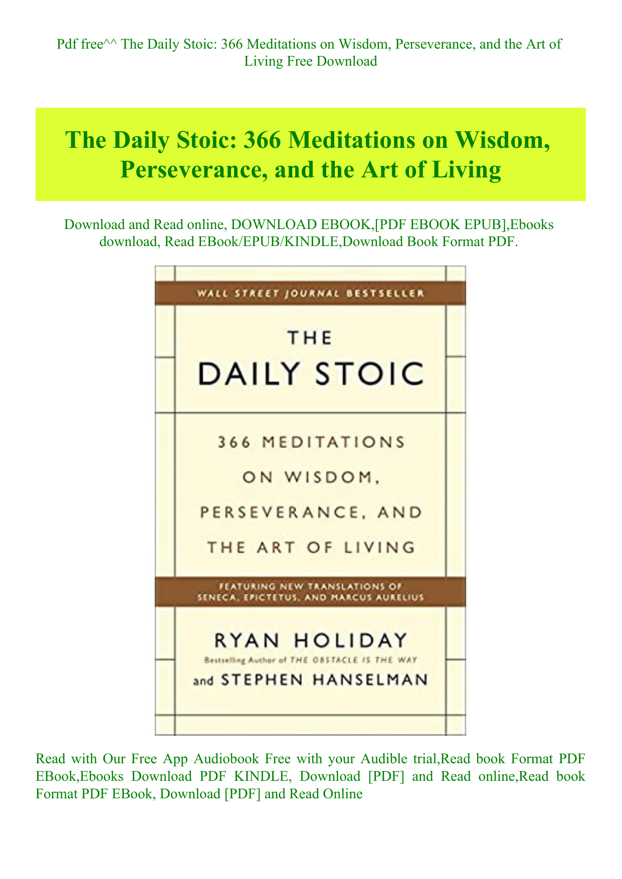 The Obstacle Is The Way PDF Free Download
